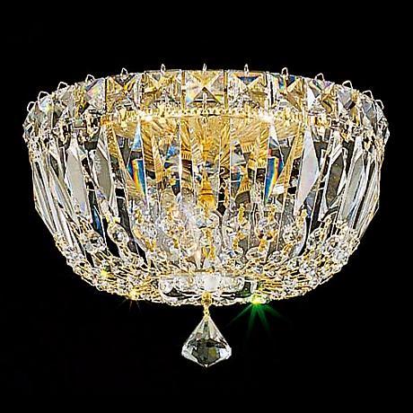 "Schonbek Petit Gold Hand-Cut Crystal 8"" Wide Ceiling Light"
