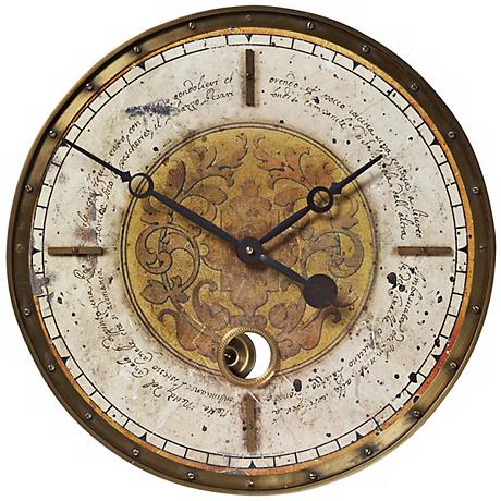 "Leonardo Script Cream 18"" Wide Round Wall Clock"