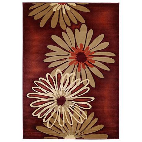 Mossa Collection Daisy Terracotta Area Rug