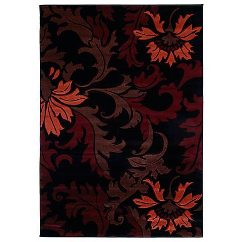 Mossa Collection Cannes Burgundy Area Rug