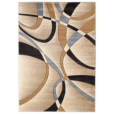 Mossa Collection Ribbons Beige Area Rug