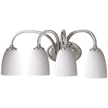 """Feiss Perry 24"""" Wide Brushed Steel Bathroom Light"""