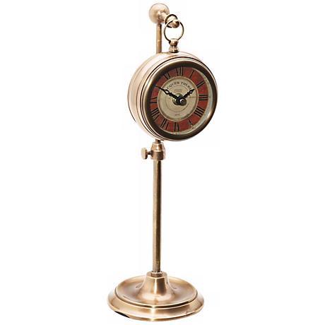 Uttermost Thuret Brass Pocket Watch Desk Clock