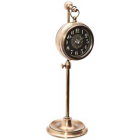 Uttermost Woodburn Brass Pocket Watch Desk Clock