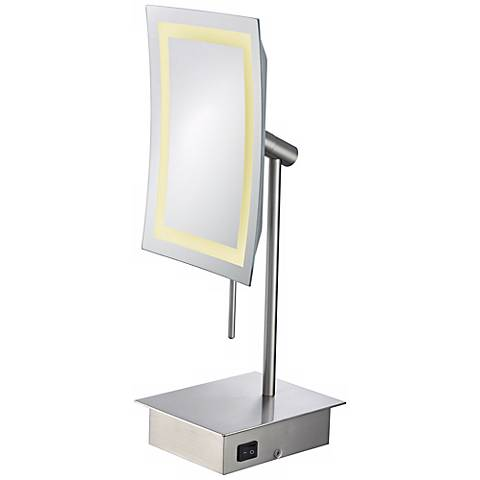 Aptations LED Nickel Minimalist Tabletop Vanity Mirror