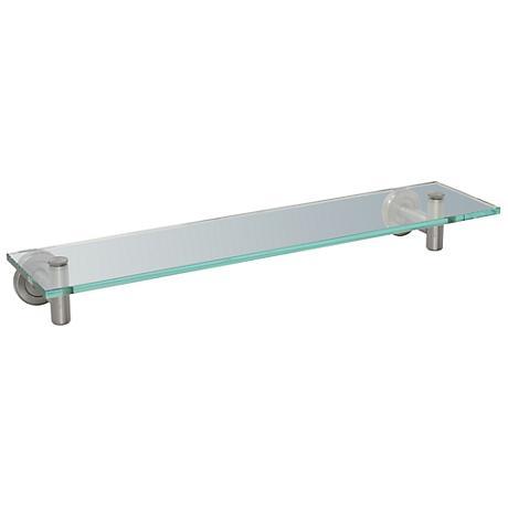 "Gatco Latitude II Nickel 20"" Wide Glass Bathroom Shelf"