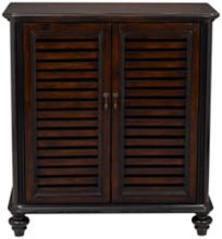 Trenton Burnished Brown & Black Louvered Cabinet