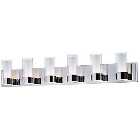 Maxim silo polished chrome 6 light bathroom light fixture for Bathroom 6 light fixtures