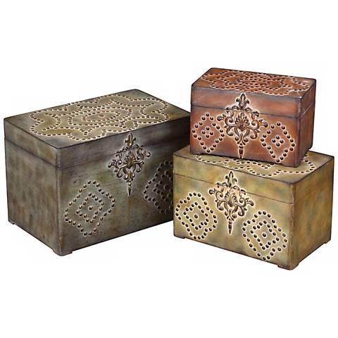 Set of 3 Hobnail Boxes
