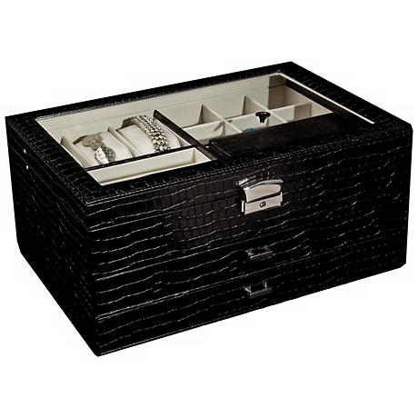 Mele & Co. Alana Glass Top Black Croco Locking Jewelry Box