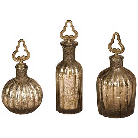 Set of 3 Kaho Metallic Glass Perfume Bottles
