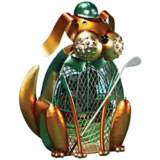 Dog Golfer Figurine Decorative Desk Fan