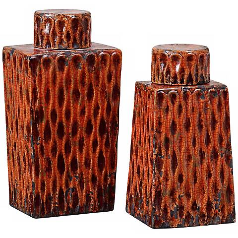Uttermost Set of 2 Raisa Burnt Orange Rectangular Containers