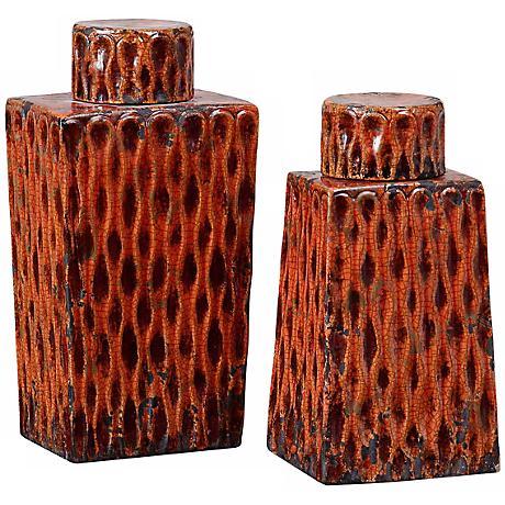 Uttermost Set of 2 Raisa Burnt Orange Rectangular Containers