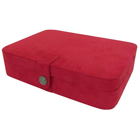 Mele & Co. Maria Plush Red Fabric 24-Section Jewelry Box