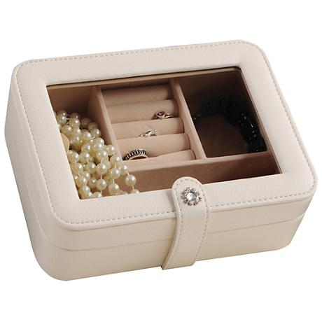 Mele & Co. Rio Ivory Faux Leather Glass-Top Jewelry Box