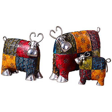 """Uttermost Set of 3 Silver-Accented 10"""" Wide Colorful Cows"""