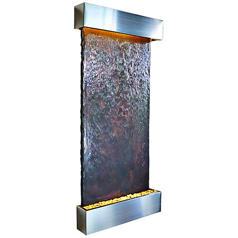 """Nojoqui Falls 72"""" High Grande Stainless Indoor Wall Fountain"""