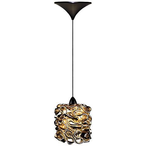"WAC Candy 4 1/2""W LED Gold Art Glass Bronze Mini Pendant"