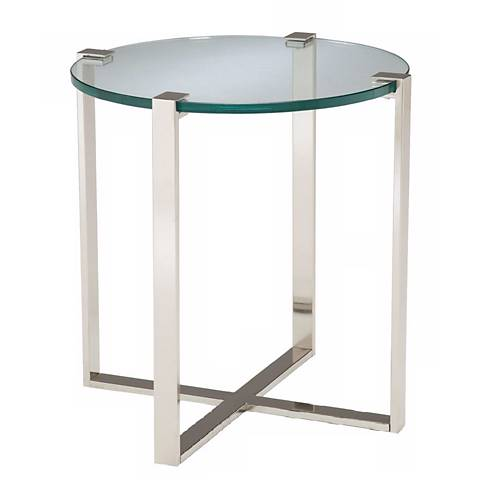 Uptown Polished Nickel & Glass Side Table