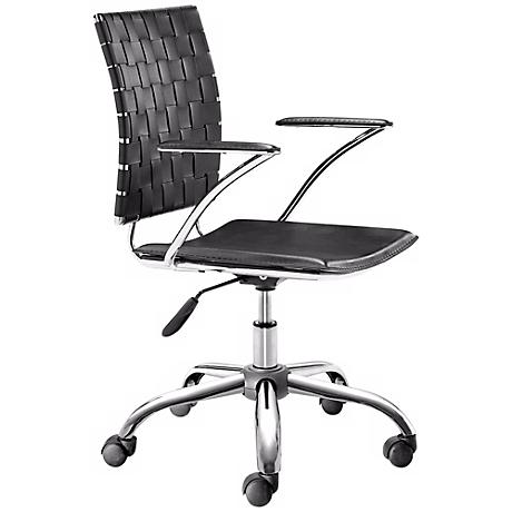 Zuo Criss Cross Black Leatherette Office Chair