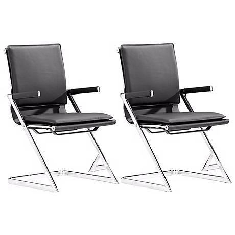 Zuo Lider Black and Chrome Set of 2 Conference Chairs