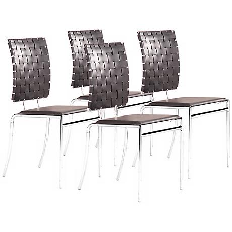 Zuo Set of 4 Criss Cross Dining Black Chairs