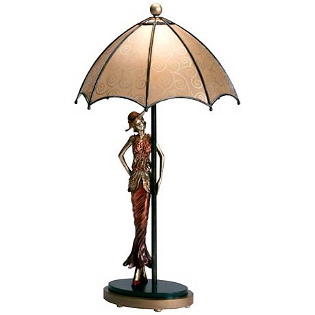 Hand-Made Umbrella Lady Accent Table Lamp
