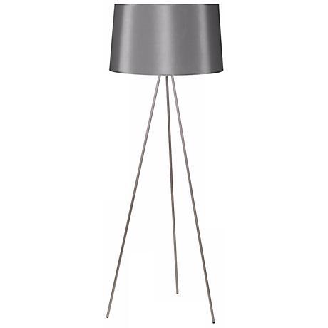 Lights Up! Weegee Nickel Platinum Silk Shade Floor Lamp
