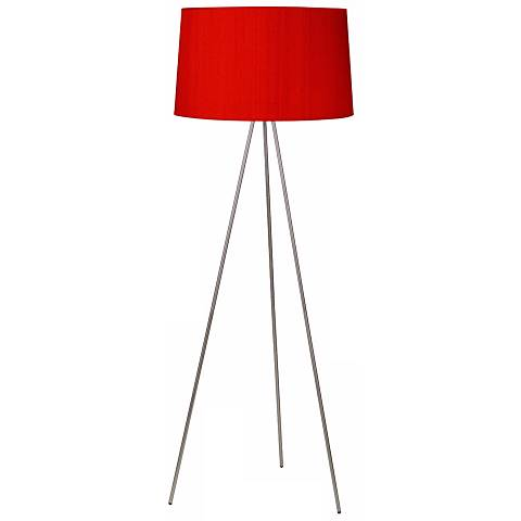 Lights Up! Weegee Nickel Red Dupioni Silk Shade Floor Lamp