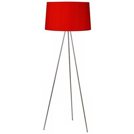 Lights Up! Weegee Nickel Red Dupioni Silk Shade Floor Lamp