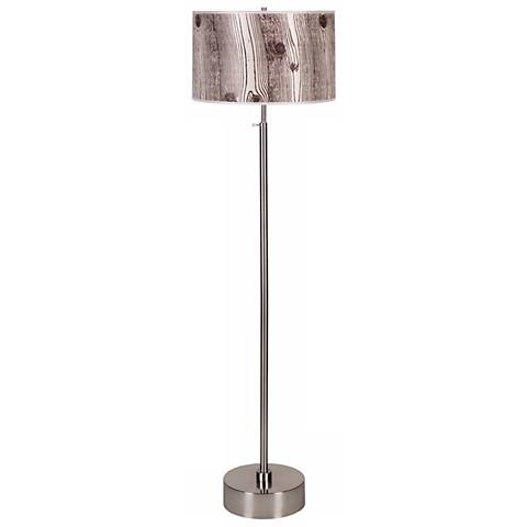 Lights Up Cancan Faux Bois Shade Adjustable Floor Lamp