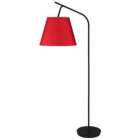 Lights Up! Walker Red Dupioni Silk Shade Floor Lamp