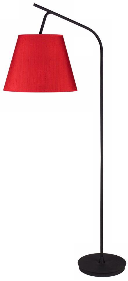 Lights Up! Walker Red Dupioni Silk Shade Floor Lamp