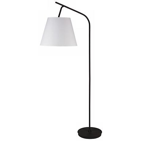 Lights Up! Walker White Linen Shade Floor Lamp