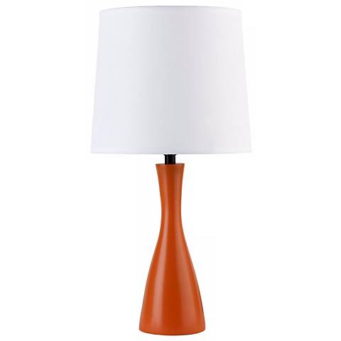 Lights Up! Linen Shade Carrot Finish Oscar Accent Table Lamp