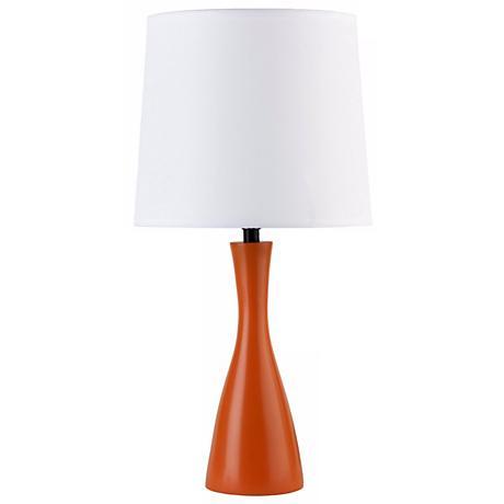 Lights Up! Linen Shade Carrot Finish Oscar Table Lamp
