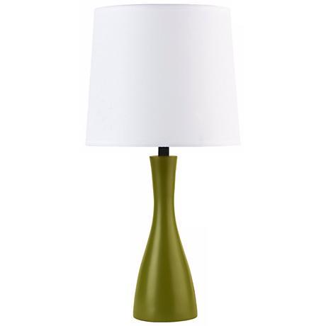 Lights Up! Linen Shade Grass Finish Oscar Table Lamp
