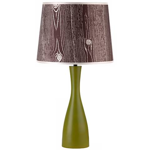 "Lights Up! Faux Bois Shade Grass Oscar 24"" High Table Lamp"