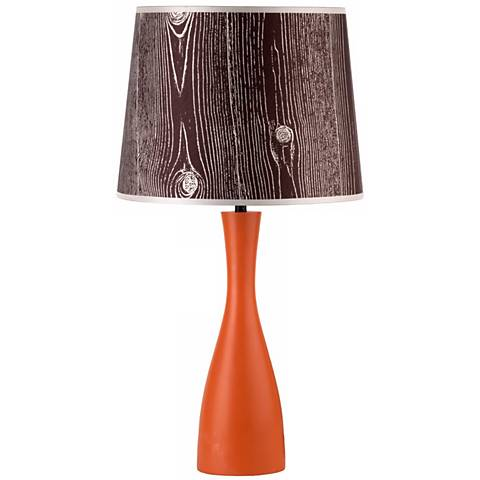 "Lights Up! Faux Bois Shade Orange Oscar 24"" High Table Lamp"