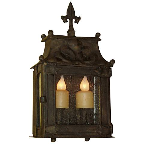 "Laura Lee Fleur De Lis 2-Light 17 1/2"" High Wall Lantern"