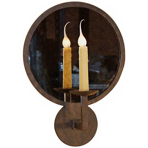 "Laura Lee Round Mirror 19"" High Wall Sconce"