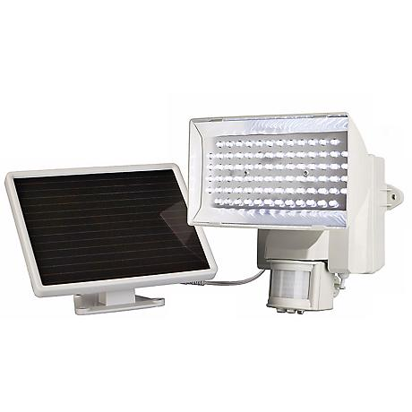 White Solar Power Motion Activated 80 LED Flood Light