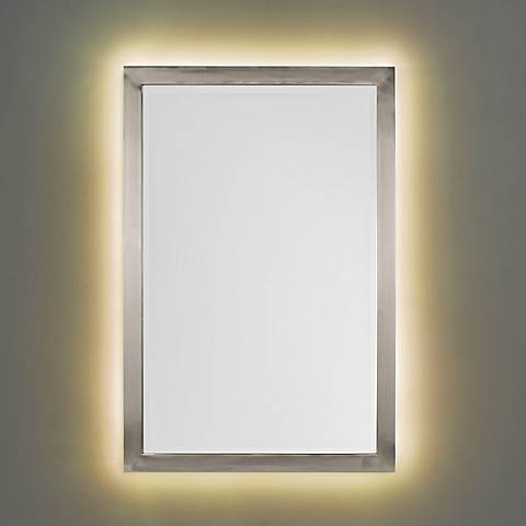Possini Euro Metzeo Brushed Nickel Mirror with LED Light Kit