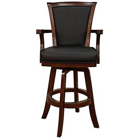 "American Heritage Auburn Suede Black 30"" Swivel Bar Stool"