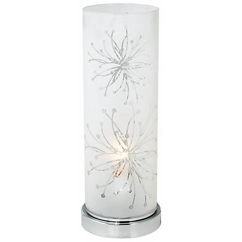 "Frosted Glass Cylinder 14 1/4"" High Accent Table Lamp"