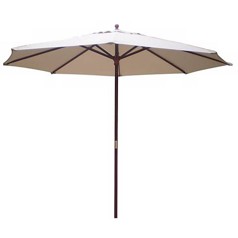 9' High Natural Market Umbrella with Wooden Pole