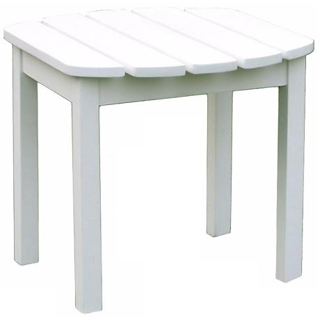 White Finish Wood Outdoor Accent Table
