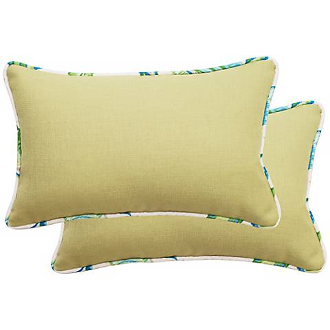 Set of 2 Green Rectangular Welt Cording Outdoor Pillows