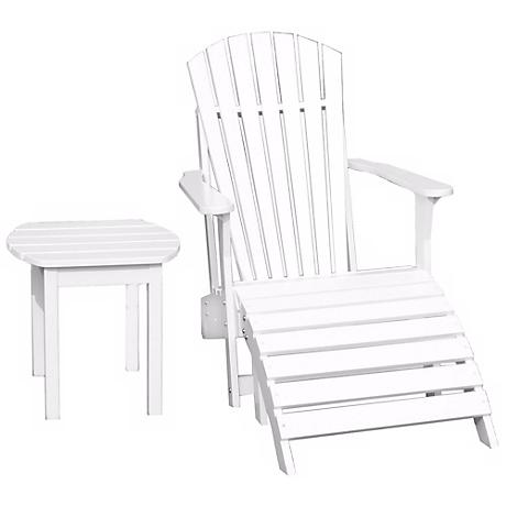 Set of 3 White Adirondack Chair Footrest and Side Table